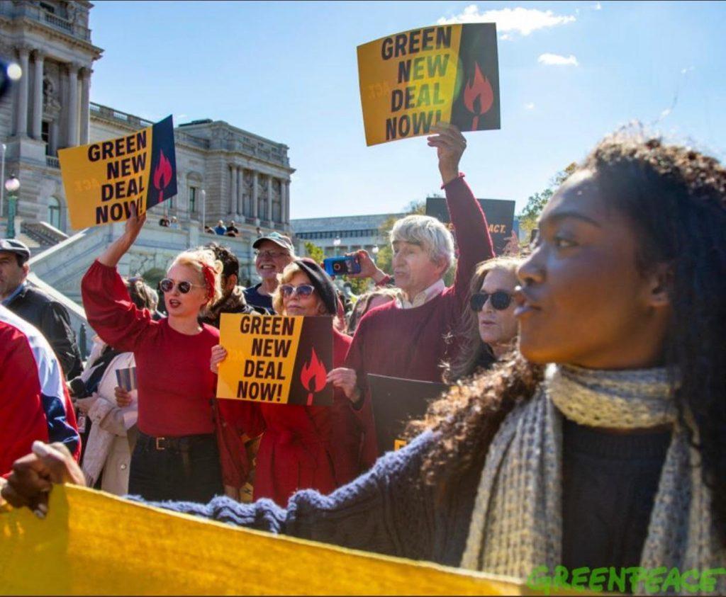 Aishah-Nyeta Brown at a Green New Deal rally
