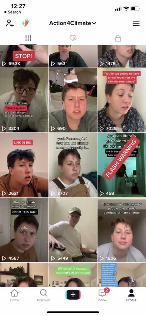 Indy, who will be attending this year's COP26 as part of ACE's delegation, creating micro-videos on ACE's TikTok, many of which have gone viral.
